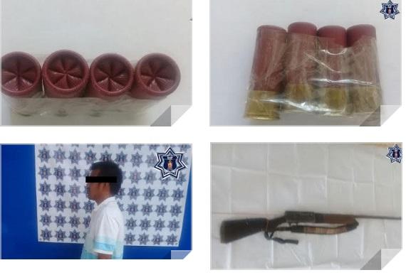 Aseguran arma de fuego en Morro Mazatán