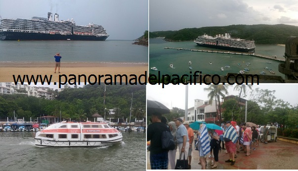 Turbonada encalla a crucero internacional en Huatulco