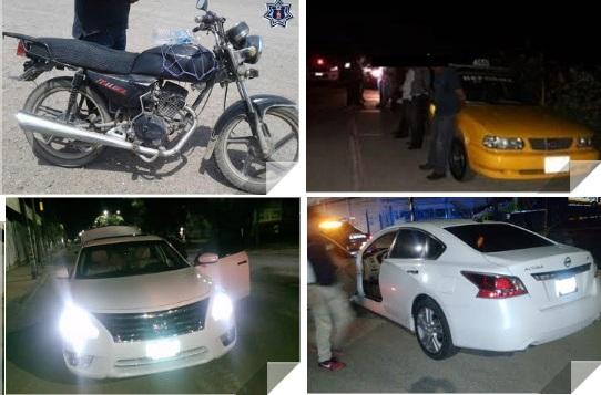 Recuperan policías estatales tres unidades de motor con reporte de robo