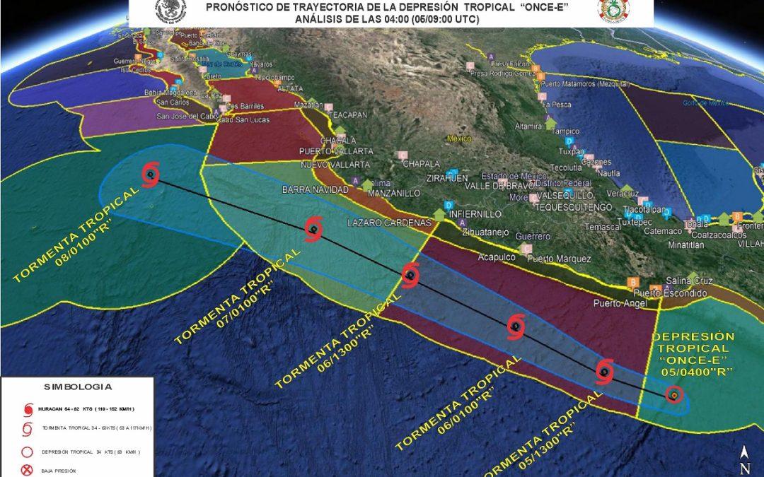 """Trayectoria y Aviso de la Depresión Tropical """"ONCE-E"""" del Océano Pacífico"""