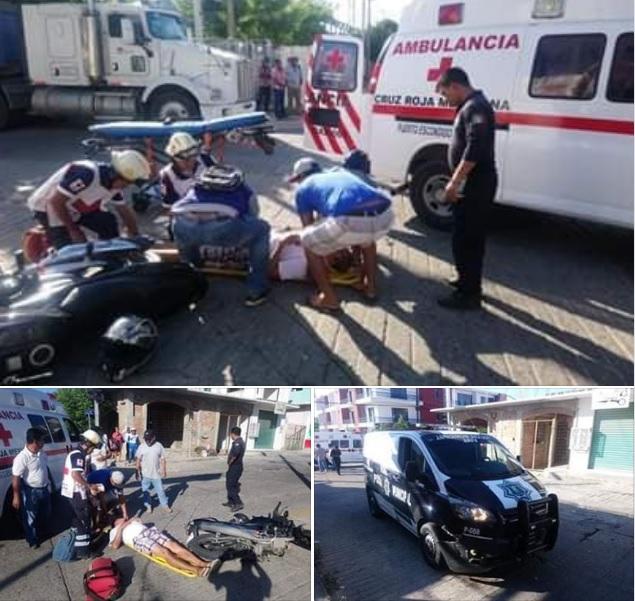 Accidente entre Patrulla Vial y Motociclistas en Puerto Escondido