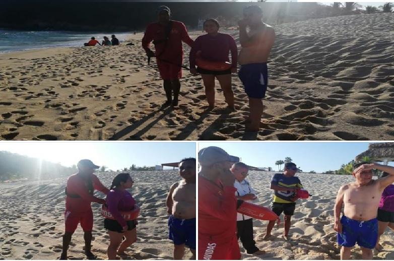 Rescatan a turistas en la Playa Chahué
