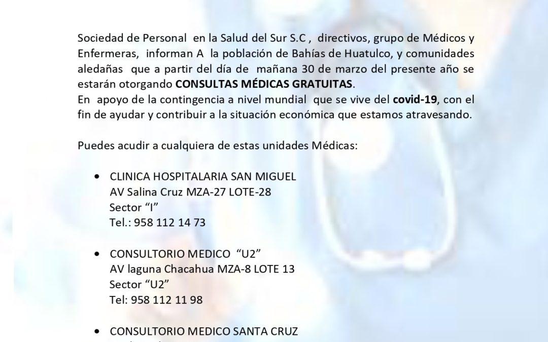 Consultas médicas gratuitas ofrece clínica particular en Huatulco