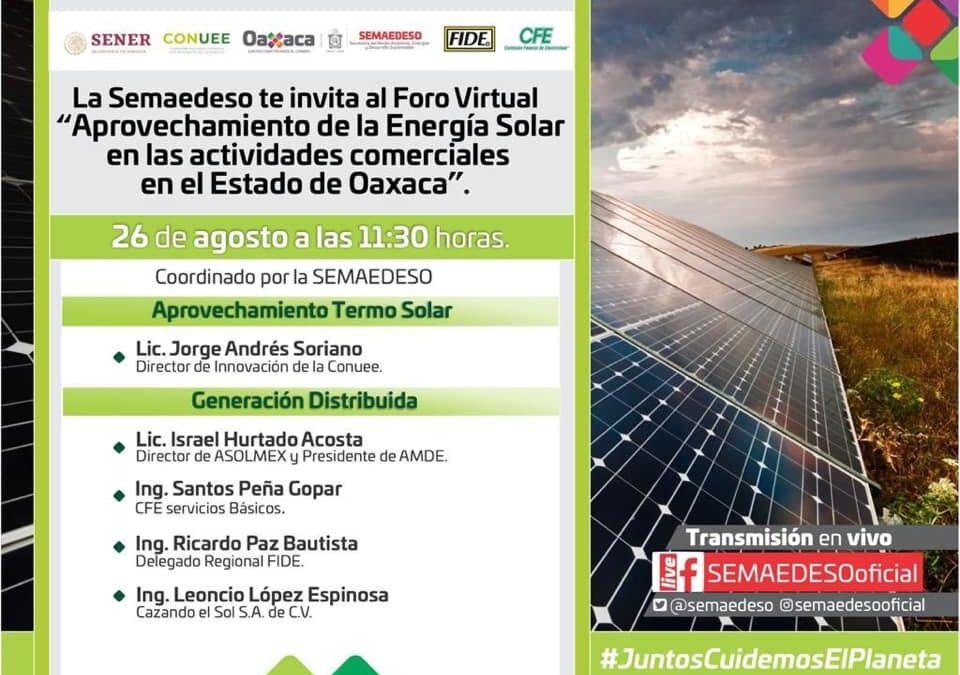 Realizará Semaedeso foro sobre aprovechamiento de energía solar