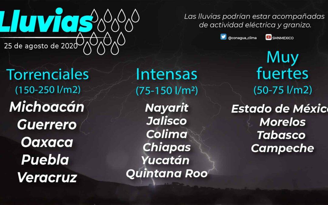 Se pronostican lluvias torrenciales en regiones de Guerrero, Michoacán, Oaxaca, Puebla y Veracruz