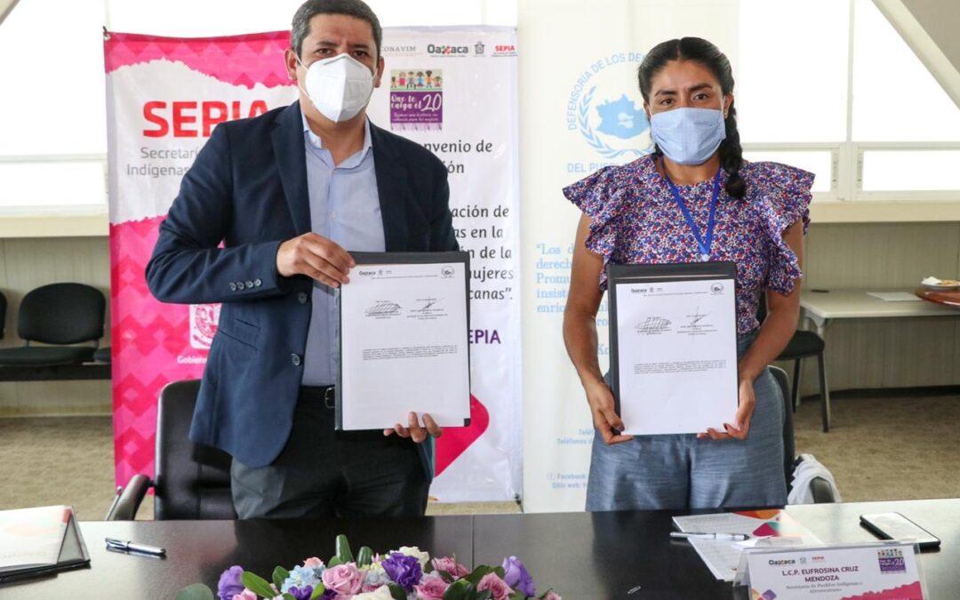 Firma Sepia convenio interinstitucional a favor de las mujeres indígenas y afromexicanas