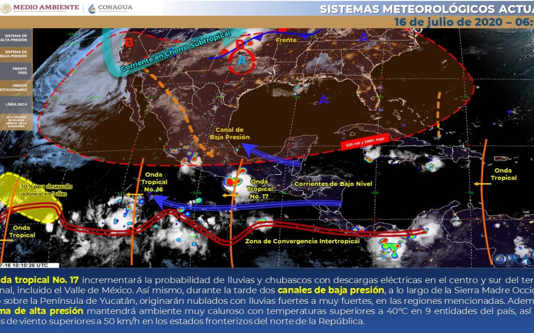 Lluvias puntuales fuertes en zonas del noroeste, occidente, sur y sureste del territorio nacional