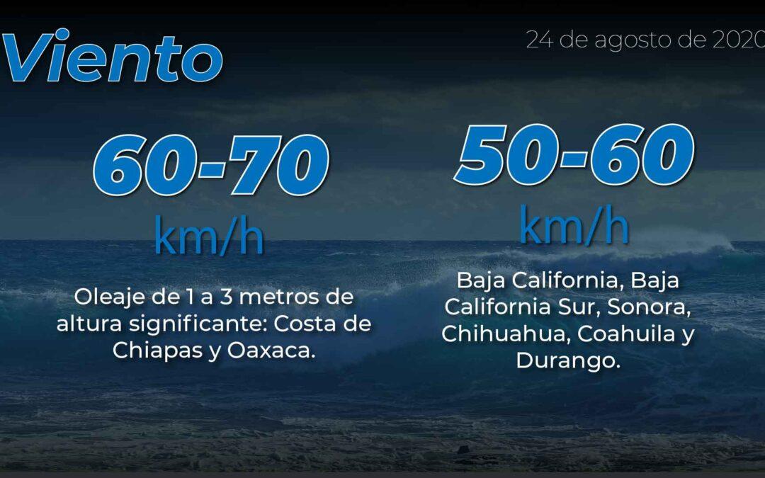 Se pronostica para Oaxaca, Chiapas  y el sur de Veracruz,  lluvias puntuales torrenciales